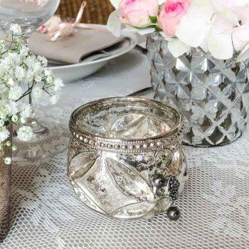 Hochzeitsdeko vintage, Bauernsilber-Teelichthalter-Teelichtglas - mieten