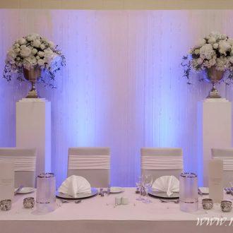 Brauttisch mit Hintergrund bzw. Rückwand, Farbkonzept-blau, Festsaal in Melle