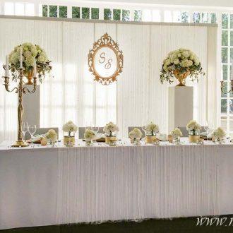 Brautpaartisch mit Hintergrund gold Vintage, Festsaal Wandelhalle in Bad-Oeynhausen