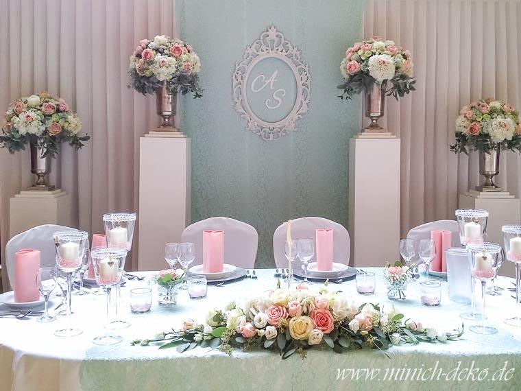 Brautpaartisch-Hintergrund mint in Wellingholzhausen