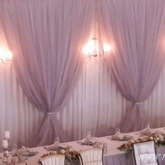 Brauttischdeko mit Hintergrund, Festsaal Palais im Park Bad Eilsen