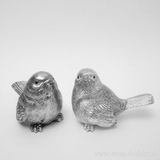 Deko Figur-Vögel silber Antik-Stil