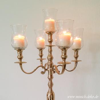 Kerzenständer 5-ARM GOLD - 80 cm inkl. Glasaufsatz (mieten)