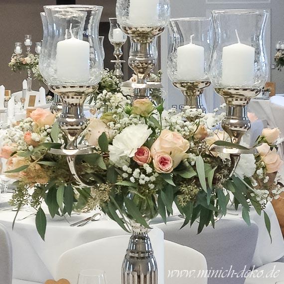 Kerzenstaender-Glasaufsatz, Blumenkranz