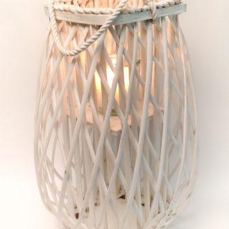 Laterne-Rattan weiss-mit Glas-Windlicht
