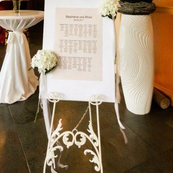 Staffelei mieten, weiß, Sitzplan, Tischordnung
