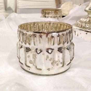 Teelichthalter BAUERNSILBER, Windlichtglas silber antik, Shabby Vintage Deko mieten