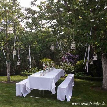 Gartendeko in Vintage Shabby Stil, Verleih von Bierbankhussen