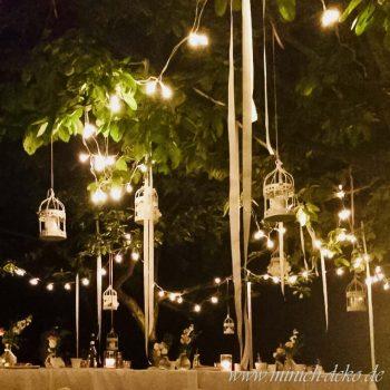 Gartendeko mit Beleuchtung in Vintage Shabby Stil, Verleih Service