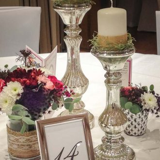 Kerzenständer in 2 Größen, Bauernsilber Kerzenhalter silber, Stil: Shabby Chic, Deko Verleih