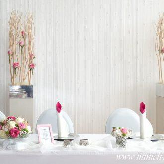 Brauttisch, Hintergrunddekoration mit Perlenfaden Vorhang