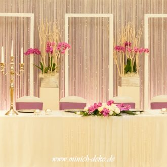 Brauttischdeko mit Hintergrund und Blumendeko