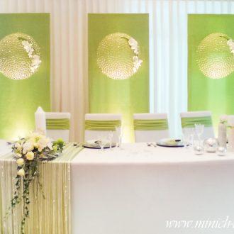 Brauttischdeko, Hintergrunddeko, Farbe grün