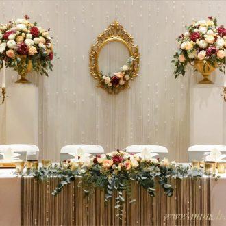 Brauttisch Deko gold, Brauttisch-Hintergrund, Vintage Hochzeit