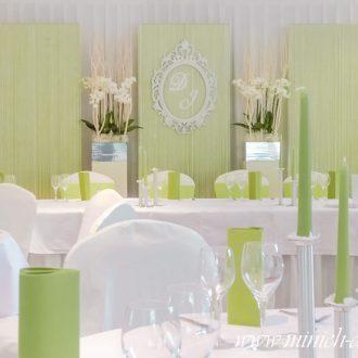 Brautpaartisch-deko, Brauttischhintergrund, grün