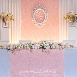 Brauttischdeko-Hintergrund rosa-weiß, weiße Spitze, vintage