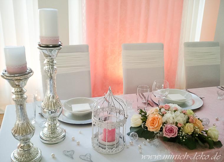 Brauttischdeko Blumengesteck, Windlicht-Dekokäfig, Kerzenständer-bauernsilber-vintage-deko
