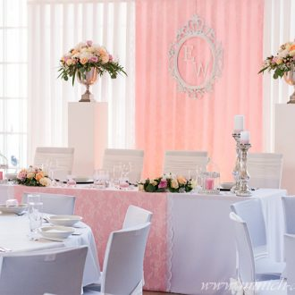 Brauttischdeko mit Spitze und frischen Blumen-Gestecken, Farbe rosa-weiß