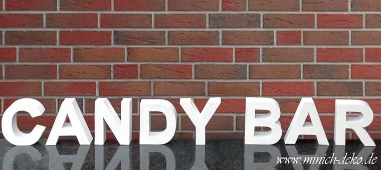 Candybar - Buchstaben, Schriftzug weiss, mieten