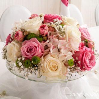 Floristik, Brauttisch Blumengesteck auf Glasständer