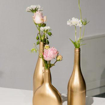 Goldene Flaschen, Hochzeitsdeko vintage