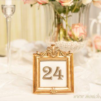 Tischnummernhalter gold, Hochzeitsdeko, Tischdeko