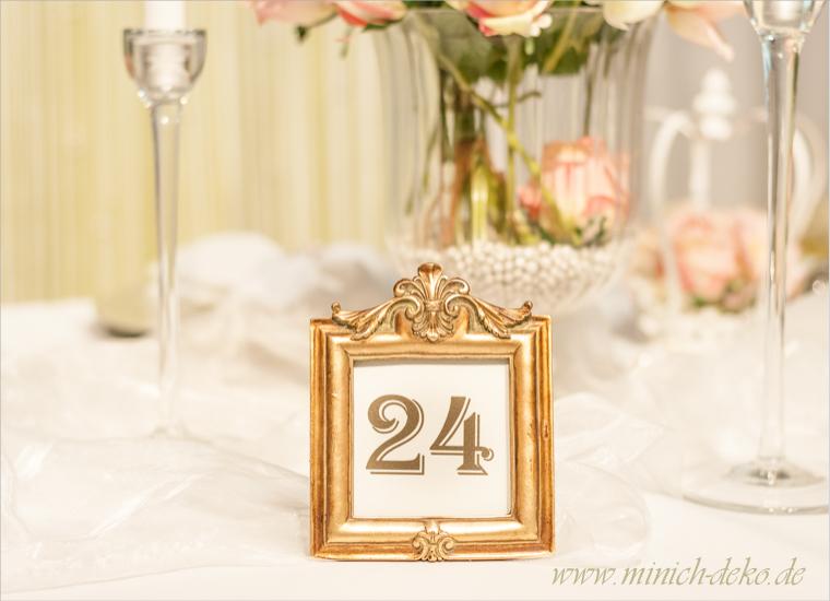 Hochzeitsdeko Vintage, Tischnummernhalter gold, Tischdeko