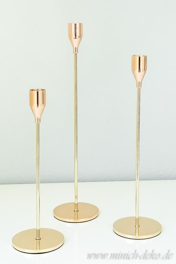 Kerzenhalter einarmig H 24 cm H 29 cm H 34 cm metall gold Verleih