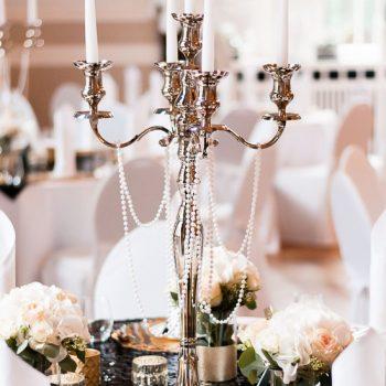 Kerzenständer 5-arm H80cm, Perlenketten - Gatsby Stil