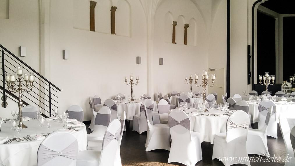 Kerzenleuchter mit Glasaufsatz, Hochzeitsdeko-Verleih, alte Stadthalle Melle