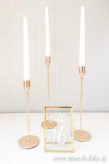Kerzenständer H 24 cm H 29 cm H 34 cm | Metall | gold | Vermietung