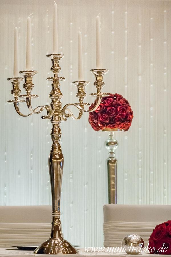 Kerzenständer silber 5-armig H80 cm, festliche Kerzenleuchter leihen