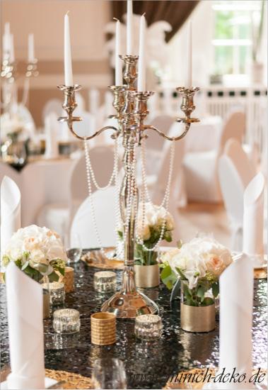 Kerzenleuchter mit Perlenketten 20er Jahre Stil