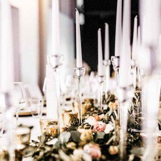 Klarglas Kerzenleuchter 1-Arm in verschiedenen Höhen, Vermietung