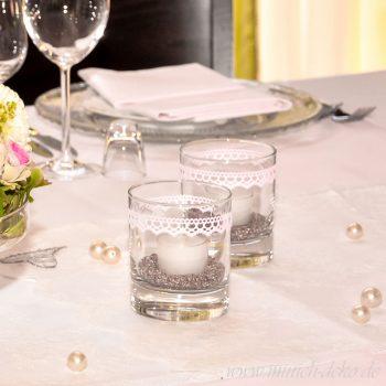 Teelichtglas klar mit Spitze, Verleihservice