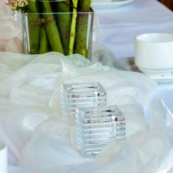 Teelichthalter aus glas eckig transparent mit Streifenmuster, Vermietung