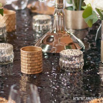 Teelichthalter gold-bauernsilber, Hochzeit 20er-jahre-stil