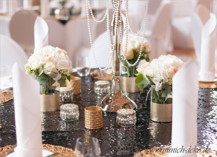 Hochzeitsdeko-Tischdeko mit Pailletten, Teelichthalter gold silber