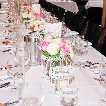 Vintage Hochzeitsdeko, Vintage Tischdeko - Windlicht Deko-Käfig, Deko-Käfig mit Blumengesteck