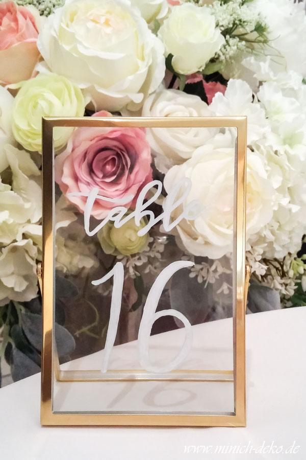 Gold Tischnummer-Rahmen aus Glas 15 cm x 10 cm