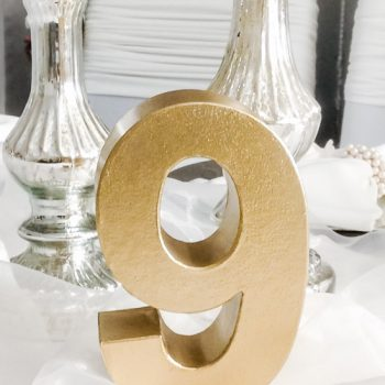 tischnummern zahlen gold hochzeit deko Tischdeko