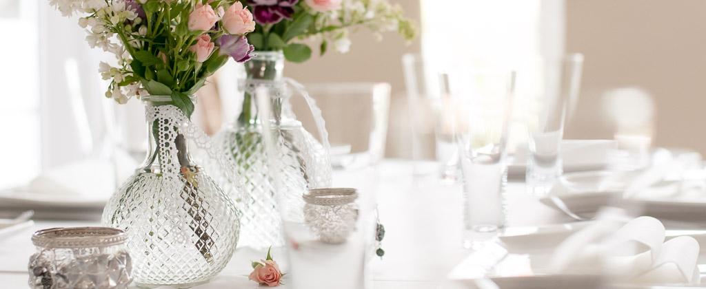 Glasvasen, Vintage Vasen, Tischdeko für Hochzeit