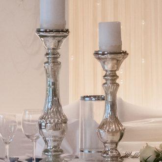 Kerzenständer Bauernsilbern, Vintage-Hochzeitsdekoration mieten