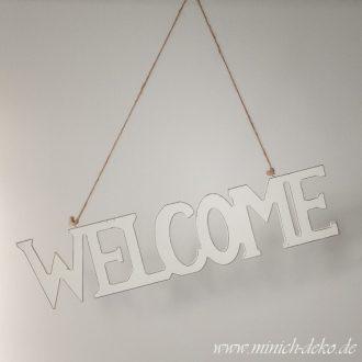 Welcome Holz-Schriftzug mit Kordel zum Aufhängen